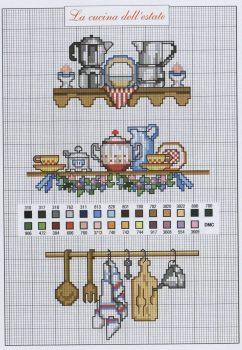 Prateleira de Panelas e Utensílios de cozinha em ponto cruz