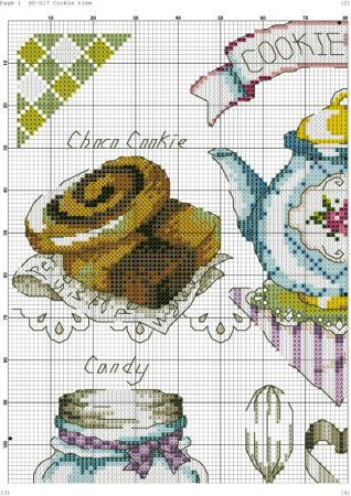 Quadro de Cozinha Hora do chá Azul BordadoPontoCruz 02
