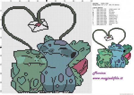 Bulbassauro e Ivyssauro Pokemon ponto cruz