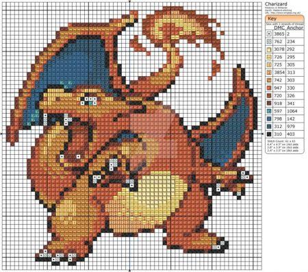 Charizard 2 Pokemon ponto cruz
