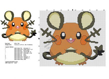 Dedenne Pokemon ponto cruz