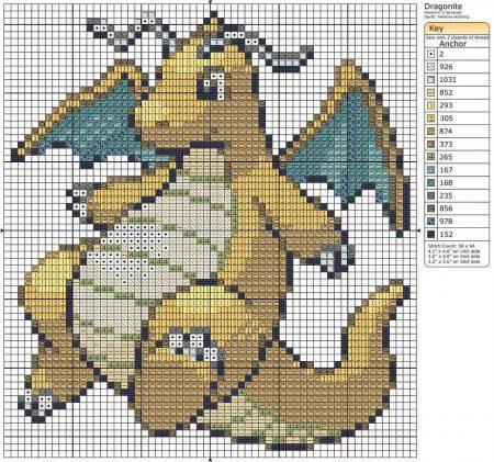 Dragonite Pokemon ponto cruz