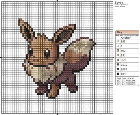 Eevee Pokemon ponto cruz