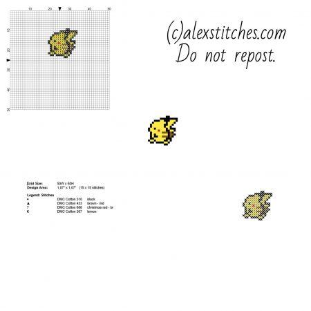 Pikachu mini Pokemon ponto cruz