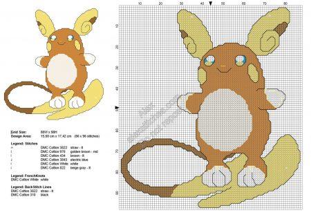 Raichu 2 Pokemon ponto cruz