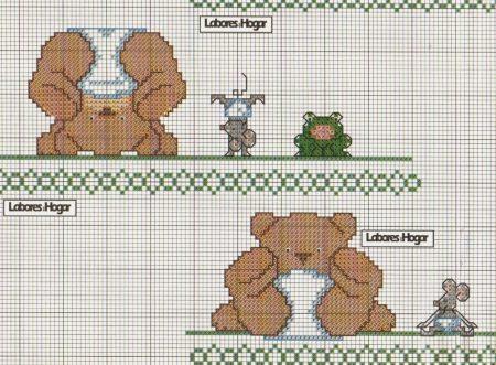 Ursinhos ponto cruz graficos bebe 24