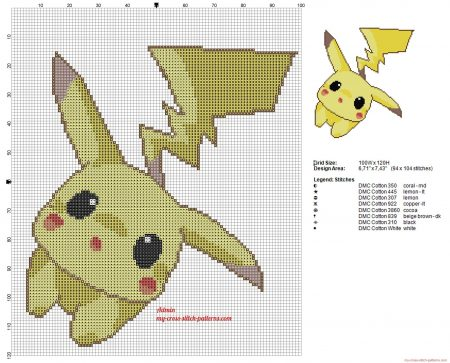 pikachu Pokemon ponto cruz