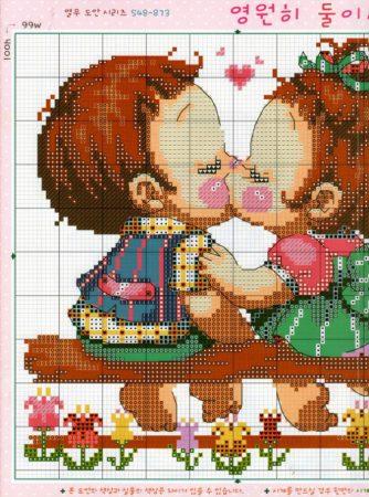 Namorados Apaixonados Casal Soda motivo Beijo no Banco 2