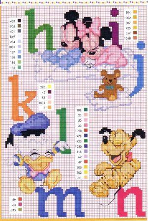 Ponto Cruz Abecedário Disney 2