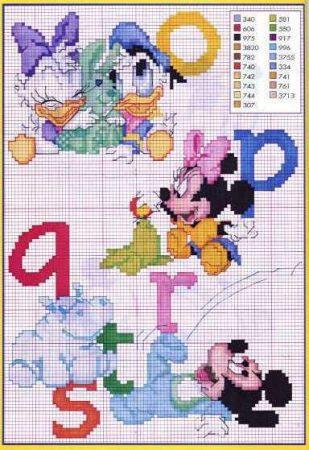 Ponto Cruz Abecedário Disney 3