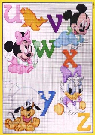 Ponto Cruz Abecedário Disney 4