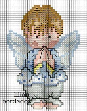 boneco menino anjinho em ponto cruz 3