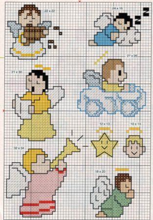 bonecos anjos em ponto cruz 2