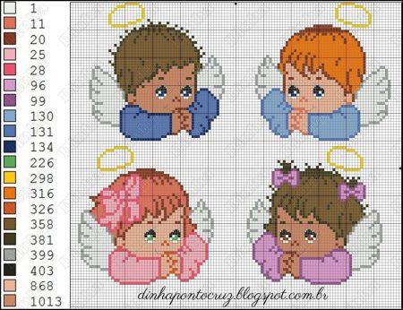 bonecos anjos em ponto cruz 7