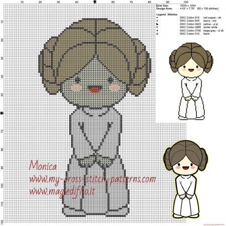 Princesa Leia Star Wars ponto cruz 3