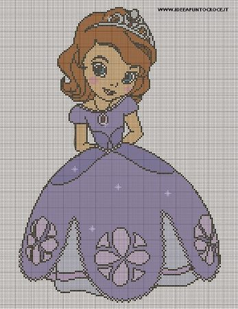 Princesa Sofia Grande em Ponto Cruz 3