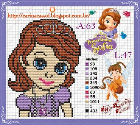 Princesa Sofia Medio em Ponto Cruz 1