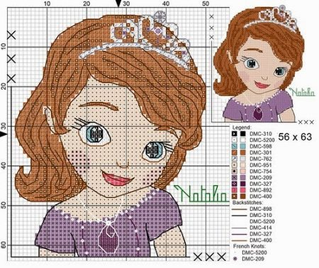 Princesa Sofia Medio em Ponto Cruz 2