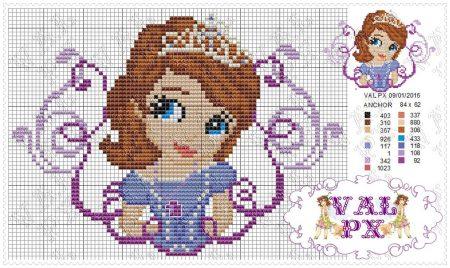 Princesa Sofia Medio em Ponto Cruz 3