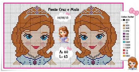 Princesa Sofia Pequeno em Ponto Cruz 6