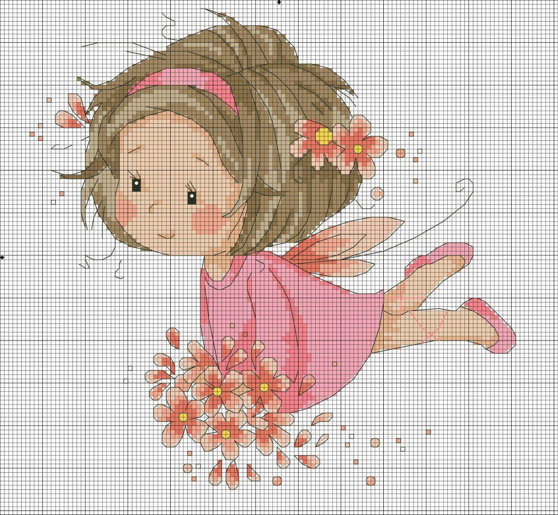 boneca menina fada 1 BordadoPontoCruz