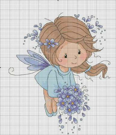 boneca menina fada 3 BordadoPontoCruz