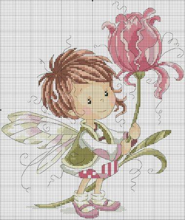 boneca menina fada 5 BordadoPontoCruz