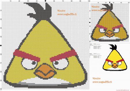 Angry Birds Passaro Amarelo 01 em ponto cruz