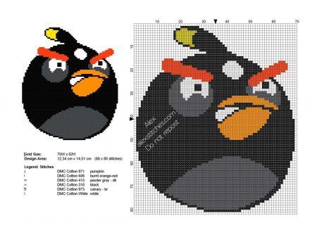 Angry Birds Passaro Preto 01 em ponto cruz