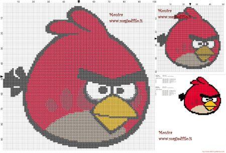 Angry Birds Passaro vermelho 01 em ponto cruz