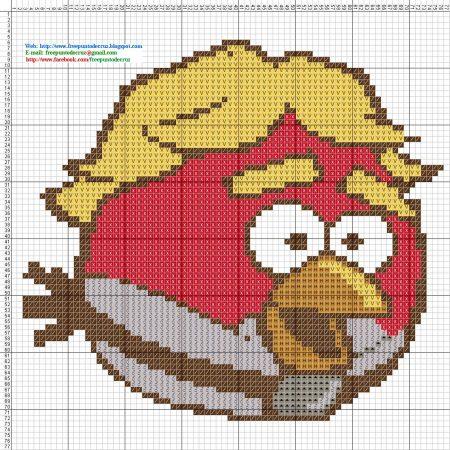 Angry Birds Passaro vermelho 05 em ponto cruz