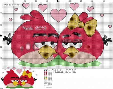 Angry Birds Passaro vermelho Apaixonado 02 em ponto cruz