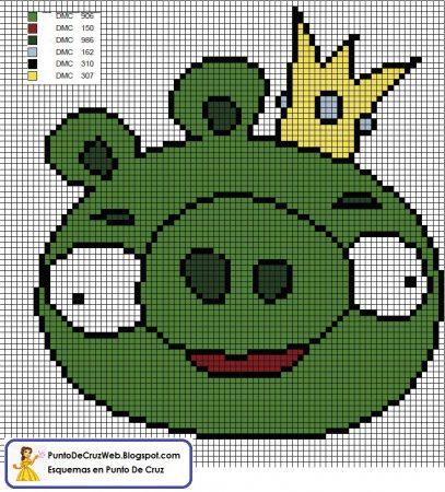 Angry Birds Porco Verde 04 em ponto cruz