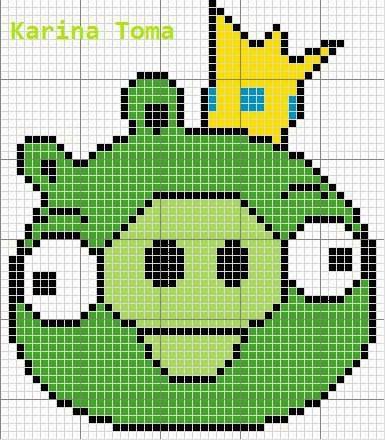Angry Birds Porco Verde 05 em ponto cruz