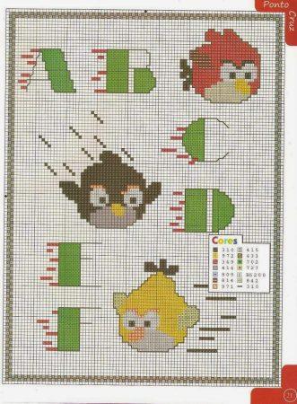 Angry Birds alfabeto 01 em ponto cruz