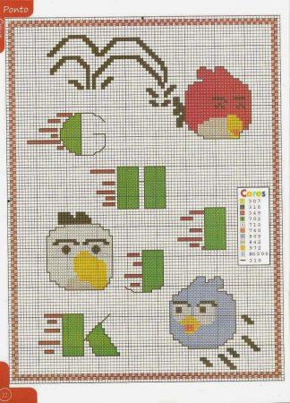 Angry Birds alfabeto 02 em ponto cruz