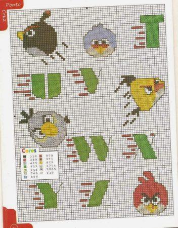 Angry Birds alfabeto 04 em ponto cruz