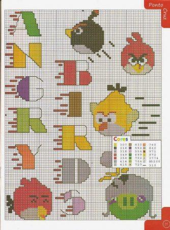 Angry Birds alfabeto 05 em ponto cruz