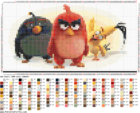 Angry Birds personagens 01 em ponto cruz