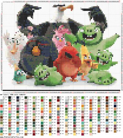 Angry Birds personagens 02 em ponto cruz