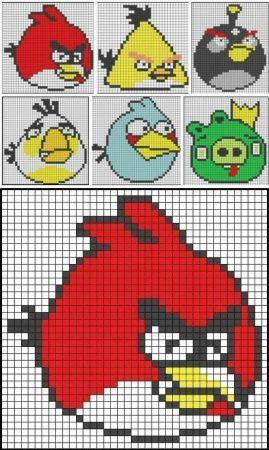 Angry Birds personagens 04 em ponto cruz