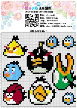 Angry Birds personagens 06 em ponto cruz