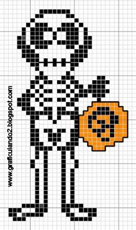Esqueleto em ponto cruz