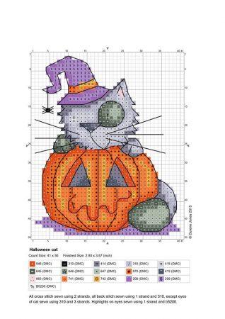 Gato Halloween em ponto cruz 02