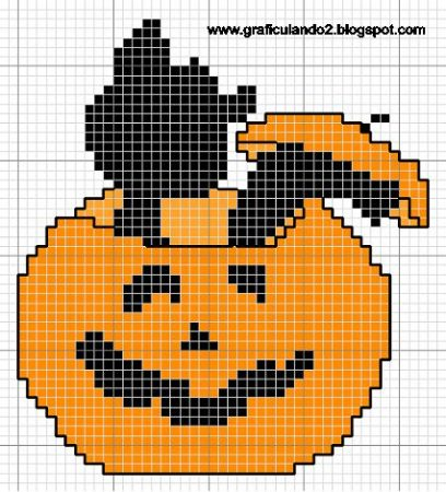 Gato Halloween em ponto cruz 05