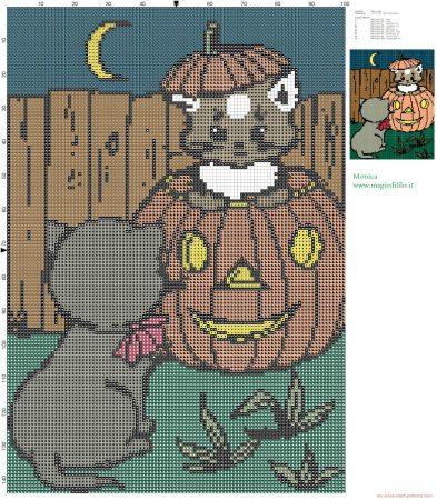 Gato Halloween em ponto cruz 08