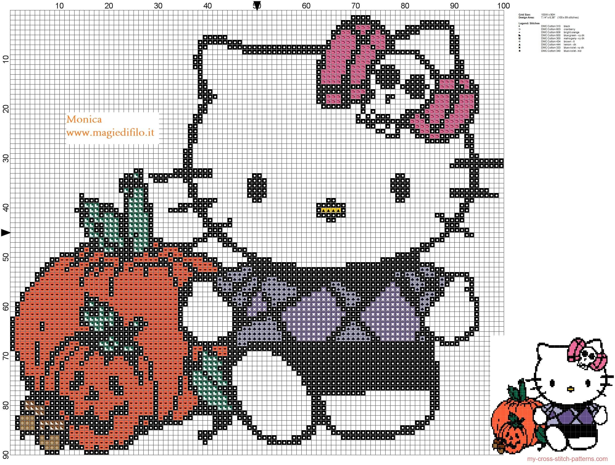 Hello Kitty no Halloweeen em ponto cruz 02