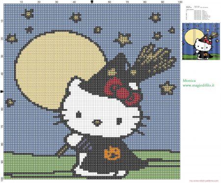 Hello Kitty no Halloweeen em ponto cruz