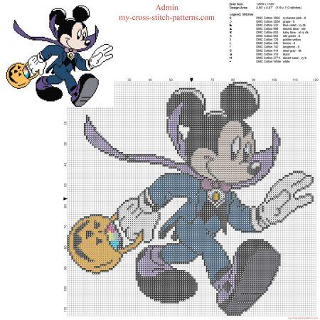 Mickey Mouse no Halloweeen em ponto cruz