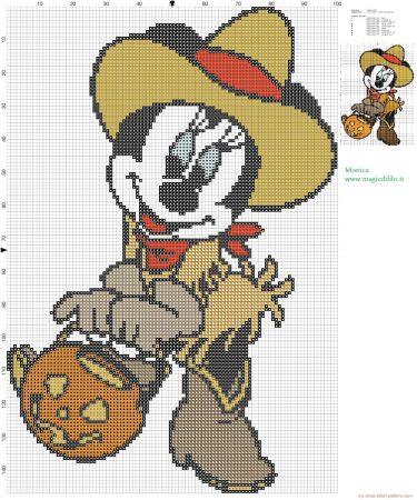 Minnie Mouse no Halloweeen em ponto cruz 02